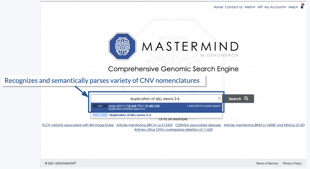 Image of how Mastermind recognizes and semantically parses a variety of CNV nomenclatures.
